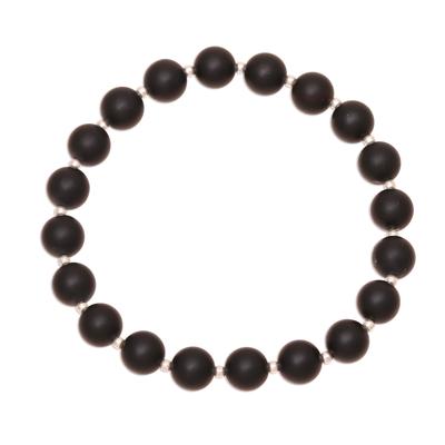 Onyx beaded stretch bracelet, 'Calm Midnight' - Black Onyx Beaded Stretch Bracelet from India