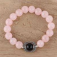 Rose quartz and onyx beaded stretch bracelet, 'Rosy Passion'