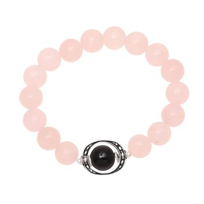 Rose quartz and onyx beaded stretch bracelet, 'Rosy Passion' - Rose Quartz and Onyx Beaded Stretch Bracelet from India