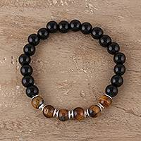 Onyx and tiger's eye beaded stretch bracelet, 'Evening Fantasy' - Onyx and Tiger's Eye Beaded Stretch Bracelet from India
