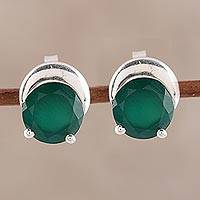 Onyx stud earrings, 'Beneath the Moon' - Sparkling Green Onyx Stud Earrings from India