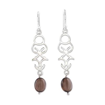 Openwork Smoky Quartz Dangle Earrings from India