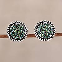 Drusy quartz stud earrings, 'Round Green' - Green Drusy Quartz Stud Earrings from India