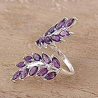 Amethyst wrap ring, 'Lavender Leaves' - 5-Carat Amethyst Wrap Ring Crafted in India