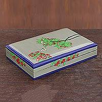 Papier mache decorative box, 'Cherry Delight' - Hand-Painted Floral Papier Mache Decorative Box from India