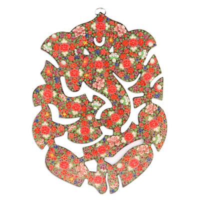 Floral Ganesha Themed Wood Wall Art From India Floral Ganesha