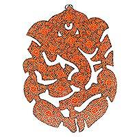 Wood wall art, 'Floral Ganesha in Red' - Floral Ganesha-Themed Wood Wall Art in Red from India