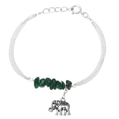 Aventurine bracelet, 'Dangling Elephant' - Sterling Silver and Aventurine Elephant Bracelet from India