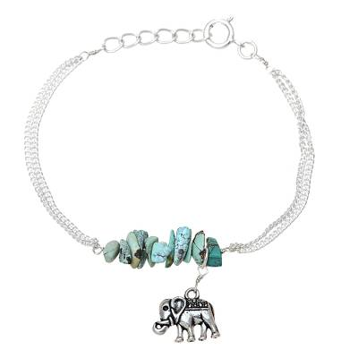 Sterling Silver and Composite Turquoise Elephant Bracelet