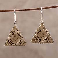 Ceramic dangle earrings, 'Golden Pyramids' - Handcrafted Ceramic Dangle Earrings with Geometric Motifs
