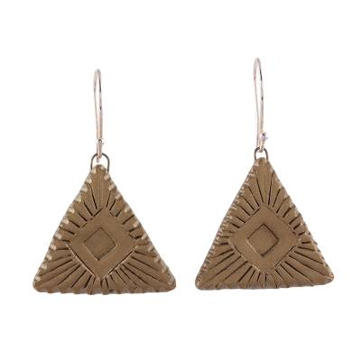 Handcrafted Ceramic Dangle Earrings with Geometric Motifs