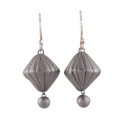 Handcrafted Silver Toned Ceramic Dangle Earrings from India