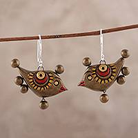 Ceramic dangle earrings, 'Morning Birds' - Artisan Crafted Ceramic Morning Bird Dangle Earrings