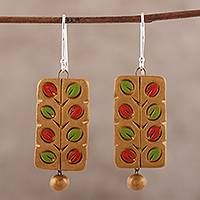 Ceramic dangle earrings, 'Colorful Branches' - Hand Painted Ceramic Dangle Earrings with Leaf Motifs