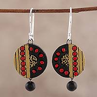 Ceramic dangle earrings, 'Midnight Splendor' - Hand Painted Ceramic Dangle Earrings in Black Red and Gold