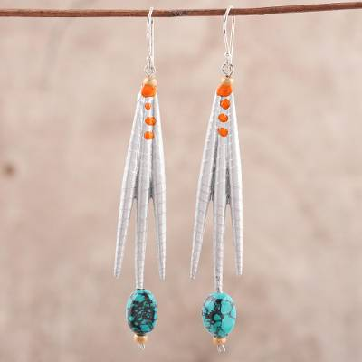 Recycled paper and dolomite dangle earrings, 'Gleaming Spikes' - Recycled Paper and Dolomite Dangle Earrings from India