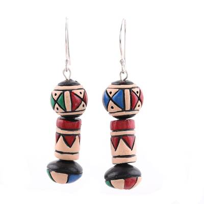 Hand-Painted Ceramic Dangle Earrings from India