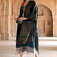 Jamawar wool shawl, 'Himalayan Teal' - Handwoven Jamawar Wool Shawl in Teal from India