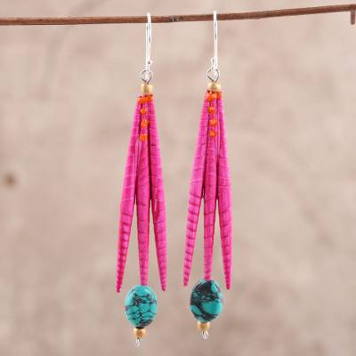 Recycled paper and dolomite dangle earrings, 'Fuchsia Spikes' - Recycled Paper and Dolomite Dangle Earrings in Fuchsia