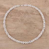 Sterling silver chain necklace, 'Borobudur Style' - Sterling Silver Borobudur Chain Necklace from India