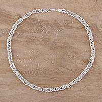 Sterling silver chain necklace, 'Smart Twist' - Handmade Sterling Silver Singapore Link Necklace from India