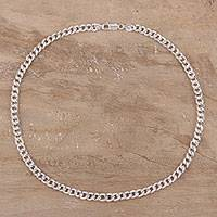 Sterling silver chain necklace, 'Classic Appeal' - Sterling Silver Cuban Link Chain Necklace from India