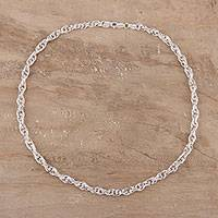 Sterling silver chain necklace, 'Delightful Twist' - Sterling Silver Singapore Link Necklace from India