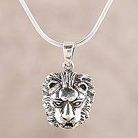 Men's sterling silver pendant necklace, 'Lion Prowess' - Men's Sterling Silver Lion Pendant Necklace from India