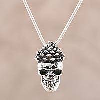 Men's sterling silver pendant necklace, 'Blooming Skull' - Men's Sterling Silver Floral Skull Pendant Necklace