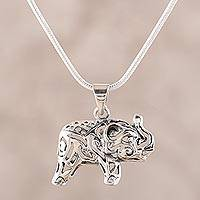 Sterling silver pendant necklace, 'Elephant Jali' - Jali Pattern Sterling Silver Elephant Pendant Necklace