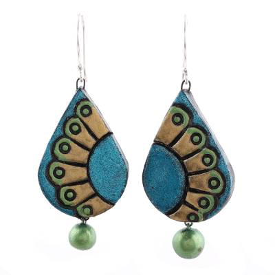 Hand-Painted Droplet Ceramic Dangle Earrings from India