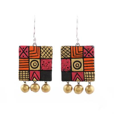 Hand-Painted Square Ceramic Chandelier Earrings from India