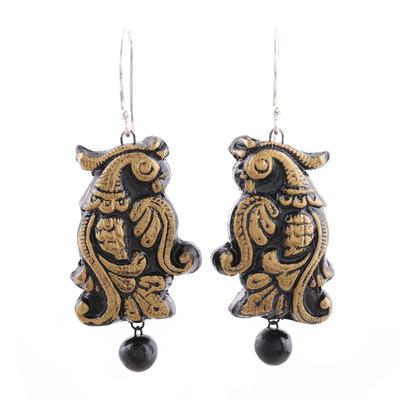 Golden Peacock Ceramic Dangle Earrings from India