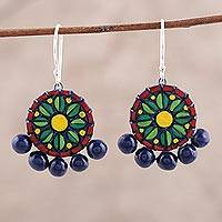 Ceramic dangle earrings, 'Bollywood Flower' - Hand-Painted Floral Ceramic Dangle Earrings from India