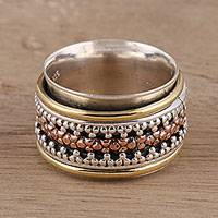 Sterling silver spinner ring, 'Royal Trance'
