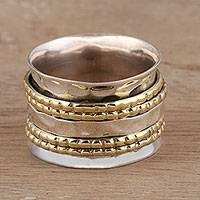 Sterling silver and brass spinner ring, 'Energetic Quintet'