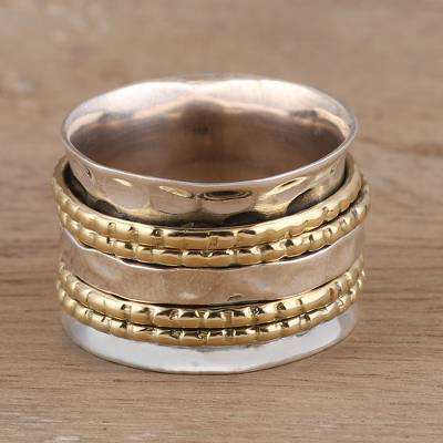 Sterling silver and brass spinner ring, 'Energetic Quintet' - Sterling Silver and Brass Spinner Ring from India