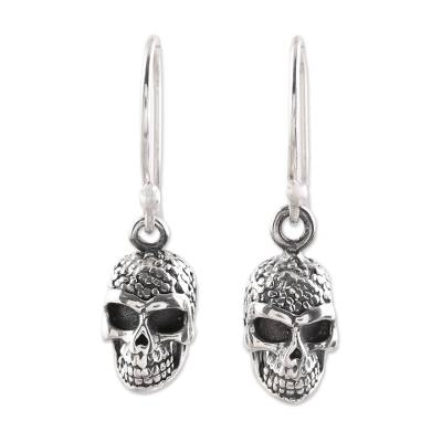 Sterling silver dangle earrings, 'Grinning Skulls' - Sterling Silver Skull Dangle Earrings from India