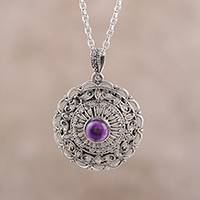 Amethyst pendant necklace, 'Classic Jali' - Jali Motif Amethyst Pendant Necklace from India