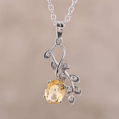 Rhodium plated citrine pendant necklace, 'Glittering Vines' - Leafy Rhodium Plated Citrine Pendant Necklace from India