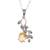 Rhodium plated citrine pendant necklace, 'Glittering Vines' - Leafy Rhodium Plated Citrine Pendant Necklace from India (image 2a) thumbail