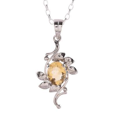 Rhodium plated citrine pendant necklace, 'Forest Radiance' - Leaf Motif Rhodium Plated Citrine Pendat Necklace from India