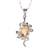 Rhodium plated citrine pendant necklace, 'Forest Radiance' - Leaf Motif Rhodium Plated Citrine Pendat Necklace from India thumbail