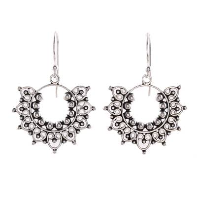 Sterling silver dangle earrings, 'Glorious Design' - Handcrafted Sterling Silver Dangle Earrings from India