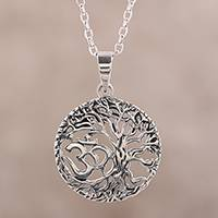 Sterling silver pendant necklace, 'Pious Om'