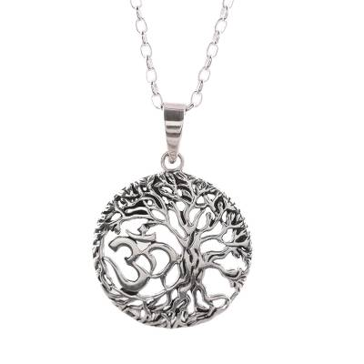 Sterling silver pendant necklace, 'Pious Om' - Sterling Silver Om Tree Pendant Necklace from India