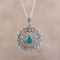 Sterling silver and composite turquoise pendant necklace, 'Classic Jali' - Jali Pattern Sterling Silver and Comp. Turquoise Necklace