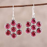 Garnet dangle earrings, 'Orb Bliss' - Garnet Cabochon Dangle Earrings from India