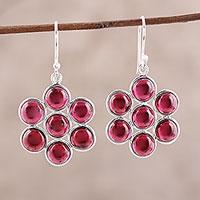 Garnet dangle earrings, 'Orb Bliss' - Garnet Cabochon Dangle Earrings from India
