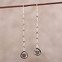 Smoky quartz dangle earrings, 'Morning Drops'